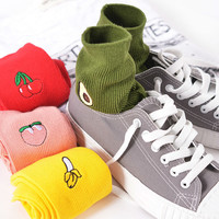 Korean Women's  Kawaii Embroidery Fruit Knee Socks Cute Avocado Banana Cherry Peach Cartoon Long Sock Pink Red Cotton Sock