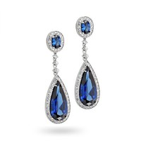 Bling Jewelry Simulated Sapphire Teardrop Chandelier Earrings Rhodium Plated