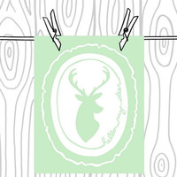 Pastel Hello My Deer Print - Deer Head Silhouette -  Pastel Green and White Wood Slice Art Print  - 8 x 10 - Baby Room Wall Art