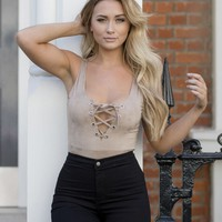 Missguided - Sarah Ashcroft Faux Suede Lace Up Bodysuit Brown