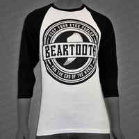 End Of The World White/Black Baseball Tee : BRT0 : MerchNOW - Your Favorite Band Merch, Music and More