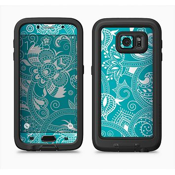 The Turquoise Fancy White Floral Design Full Body Samsung Galaxy S6 LifeProof Fre Case Skin Kit