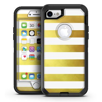 The Gold and White Horizontal Stripes - iPhone 7 or 7 Plus OtterBox Defender Case Skin Decal Kit