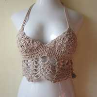 Halter top, festival top, bikini cover up, summer top, gyspy, boho chic,bustier, TAN or TAUPE