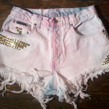 90's GRUNGE Pink/ pastel High Waisted GOLD stud embellished and Distressed Denim Shorts