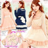 【M~LL】Pearl button with waist ribbon set♪Frill color scheme refined dress