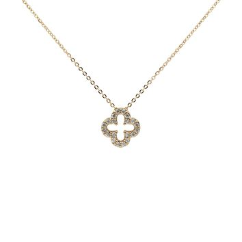 CZ Hollow Clover Necklace