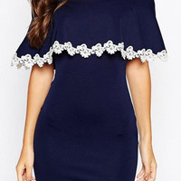 Blue Off-Shoulder Lace Spliced Bodycon Dress
