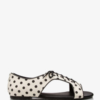 Lace-Up Polka Dot Sandals