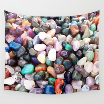 Polished Coloured Gemstones Wall Tapestry by Inspired Images