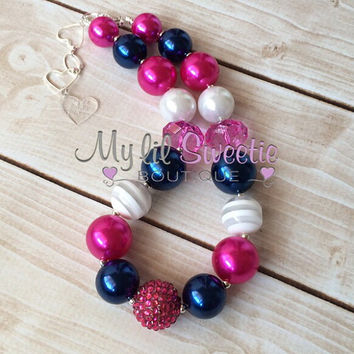 Navy, hot pink, white chunky necklace, girls jewelry, wedding jewelry, children's necklace, bubblegum jewelry, bubblegum necklace