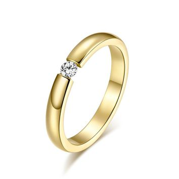 Fashion Simple Cute Jewelry Ladies Finger Ring 3MM Superfine Single CZ Diamond Ring for Christmas Gift