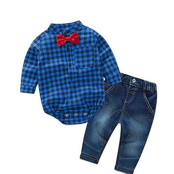 Newborn Rompers +jeans 2pcs Baby boy Newborn baby clothes full Sleeve Baby boy Clothes christmas 0-24 month birthday custumes