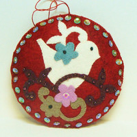 Hand Embroidered Sequins Beads Wool Felt 5 Round by woolhearts