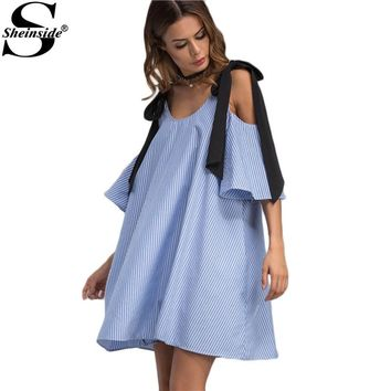 Sheinside Contrast Tie Cold Shoulder Dress Ladies Blue Vertical Striped Elegant Summer Dresses 2017 Mini Shift Tunic Women Dress