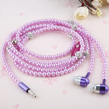 Fashion Earphones Luxury Bling Rhinestone Pearl Necklace Earphone For iphone Samsung Stereo Earbud Auriculares Lady Women Gift