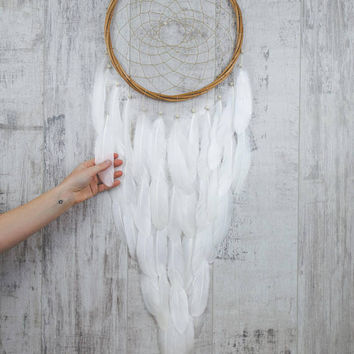 Long White Feather Dream Catcher - Color Choice - Boho Girls Boys DreamCatcher Wall Hanging Baby Tribal Crib Baby Feathers New Baby nursery