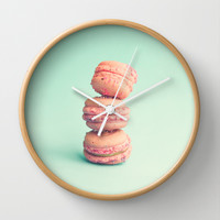 Pink Macaroons on Mint Wall Clock by AC Photography