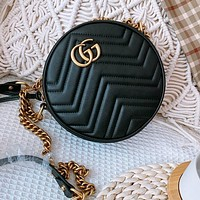 GUCCI New Retro Ladies Leather Round Pie Bag Chain Diagonal Crossbody Bag