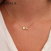 Woman Choker Cute Dainty Name Tiny Letter Initial Heart Jewelry Trendy Necklace Girls Necklace
