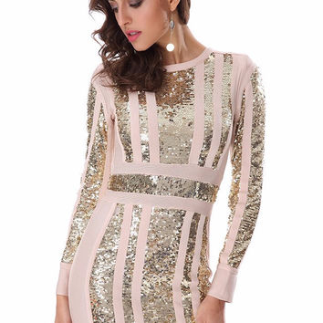 Alisha Long Sleeve Sequins Bandage Dress