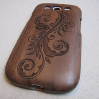 Samsung Galaxy S3 case - wooden cases walnut/cherry or bamboo - Flower