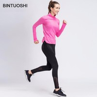 BINTUOSHI 2018 New Yoga Sets Women Gym Clothes Breathable Fitness Sports Shirt + Running Pants Yoga Set Women Sport Suits