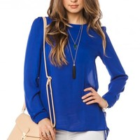 Palmos Blouse in Royal - ShopSosie.com
