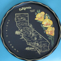 BIG SALE Vintage California State Tray Souvenir Painted Tin Poppy Flower Travel Collectible Bar Cocktail