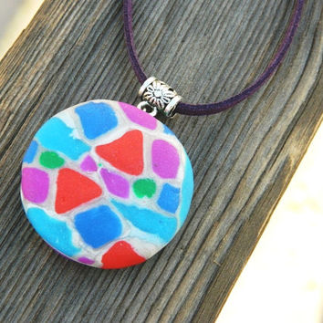 Colorful mosaic pendant - handmade of polymer clay - modern pendant - gift for her