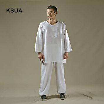 2017 Linen Yoga Shirt Pants Zen Meditation Clothing Man Sportswear Set Large Size Gym Yoga Suit Shirt Pants Tracksuit Yoga Set