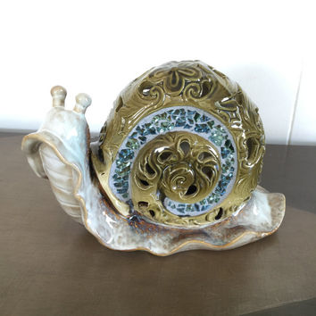 Vintage Ceramic Snail Ornate With Mosaic Large Size Home Decor Garden Decor