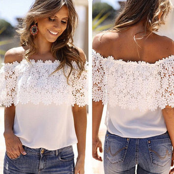SIMPLE - Fashion Lace T-shirt Top b5074