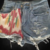 Southwest Red Ikat Fabric Patch Levi's Denim Cutoff Shorts H