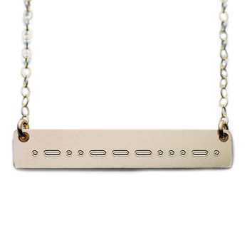 Name Plate Necklace Gold Custom Morse Code