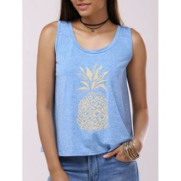 Pineapple Print Back Split Casual Tank Top - Light Blue