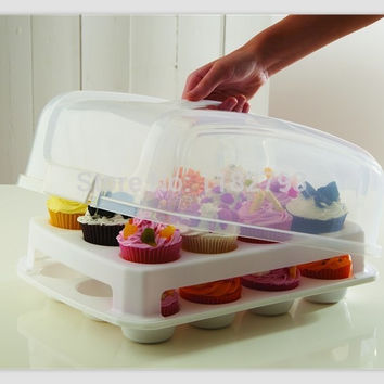 Cupcake Carrier Cake Courier Caddy Pastry Treats Portable Storage Plastic