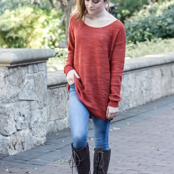 Kick It Up a Notch Rust Sweater