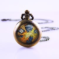 Doctor Who necklace Pocket Watch,Bronze pocket watch,pocket watch necklace,cheap pocket watch