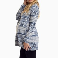 Blue-White-Tribal-Knit-Maternity-Cardigan