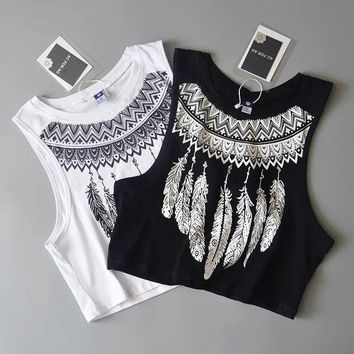 DCCKXT7 Fashion Casual Retro Feather Print Sleeveless Short Vest Crop Tops