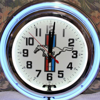 "Ford Mustang 14"" Neon Wall Clock"
