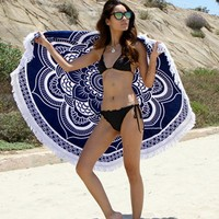 Fashion Turkish Throw Roundie Mandala Circular Round Printed Cotton Large Beach Bath Towels with Tassels L38352