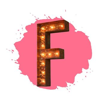 "18"" Letter F Lighted Vintage Marquee Letters (Modern Font/Rustic)"