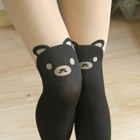 2017 Free shipping! Spring and Autumn Girls Bear stockings Sexy Black Tinted Sheer High Stockings Women Pantyhose Tattoo Tight