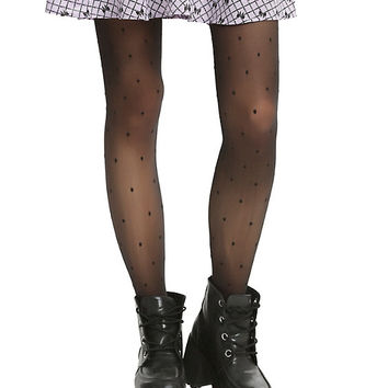 Blackheart Sheer Black Polka Dot Tights