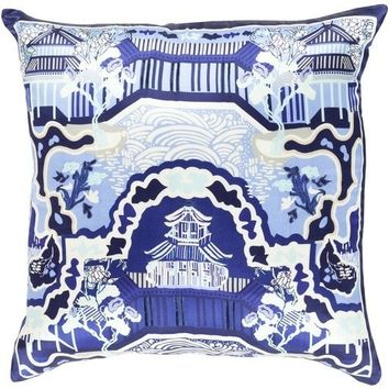 Blue Chinois Garden Silk Decorative Pillow