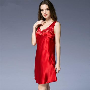 2016 NIGHTGOWN Women's faux silk suspender NIGHT DRESS skirt sleepwear sexy temptation lace lounge nightgown SY056_1353