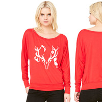 18 deer bachelor party fun funny love stag nigh women's long sleeve tee
