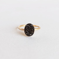 14k Black Oval Druzy Ring
